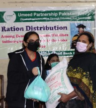 Under Emma Marchant Food Drive Ration packages were distributed among the most deserving and COVID-19 affected families