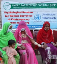 Psychological session for women survivors of contemporary forms of slavery.